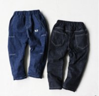Wholesale 2016 new arrival winter long and loose children s jeans fashion inspissate boys jeans with soft nap two colors