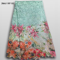 Wholesale African Lace fabric New Arrival african cord Lace for wedding dresses guipure lace Fabrics High Quality prom dress long NA611RF097