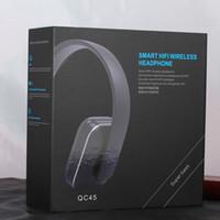 Universal bass fit - QC45 Headband Bluetooth Stereo Headphone HIFI Wireless Headset Super Bass With Mic Fit Tablets iPhone Samsung Huawei Xiaomi phone