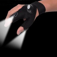 automotive gloves - Night Fishing Gloves Double LED Lamp Anti slip Angling Glove Outdoor Waterproof Breathable Glove for Fishing Automotive Lighting