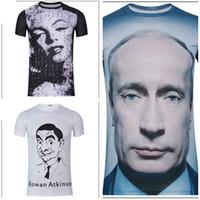 Мужчины Печатные футболки Характер шаблон Творческий портрет знаменитости печати с коротким рукавом Club Bar Summer Wear Творческий