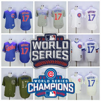 Wholesale 2016 World Series Champions patch Chicago Cubs Kris Bryant Jersey Cool Base Flexbase Baseball Jerseys White Pinstripe Grey Blue