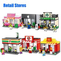 Wholesale City Series Mini Street Model Store Shop blocks with Minifigure App Store McDonald s Building Block Toys Compatible with Lego Hsanhe