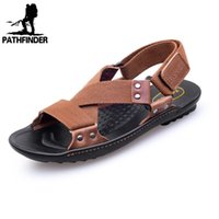beachwear slippers - Men Sandals New Summer Fashion Outdoor Casual Men Leather Sandal Flat with Slippers Leather Man Canvas Cross tied Beachwear