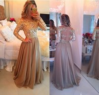Wholesale Long Sleeve Prom Dresses Off the Shoulder Chiffon Gold Lace Beading Evening Party Gowns A Line Sheer Back Formal Special Occasion Wear