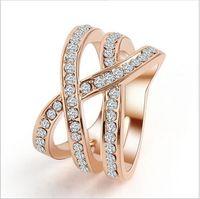al por mayor anillo de la piedra preciosa cruz-Nuevos anillos cruzados punkyes encantadores del zircon de Midi con la joyería plateada platino de lujo de la piedra preciosa del anillo de compromiso del cristal de Austria de la manera