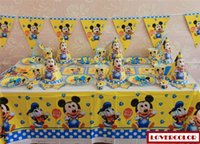 Wholesale cute mickey baby Birthday party supplies disposable plastic table cloth mask cap plate cup blowout straw flags