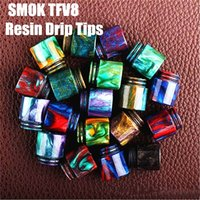 Wholesale in Stock TFV8 Epoxy Resin drip tip Colorful Resin Wide Bore drip tips for TFV8 Atomizer Tank Kooper Primus W Mod H PRIV TC Mods DHL