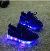 Wholesale Kids Sneakers Lights Up Shoes Superstar Children Flash Lighting Led Shoes for Kids Boy Girls Luminous Shoes Black