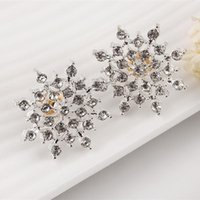Wholesale 2017 New Ladies Crystal Snow Flake Bijoux Statement Stud Earrings For Women Earring Fashion Jewelry