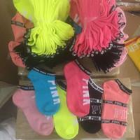 Wholesale VS Love Pink Low sock slipper ped socks Stripe Crew Sock Victorias girls women Footsocks sneakers pink VS sock slippers for sport sneaker