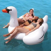 Wholesale Inflated Swan Flamingo Unicorn Inflatable Floats Tubes Pizza Floating Row Mounts Swim Ring Water Supplies Solid Color Cartoon jr