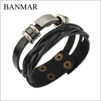 Wholesale BANMAR Leather Cuff Double Wide Bracelet Bangles Brown For Men Fashion Man Bracelets Unisex Jewelry Vintage Punk Bracelet