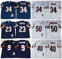 Wholesale Cheap Throwback Walter Payton Jersey Sale Man Hester Sayers Mike Singletary Jim McMahon Team Color Navy Blue White
