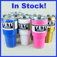 beer sales - Factory Sale Colorful Stainless Steel YETI Beer Cups Mugs Coolers Ramblers oz oz Tumblers With Clear Lid Vehicle Drinkware Fast Shipping