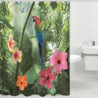 Wholesale 80 CM Shower Curtain Parrot Nature Design Bathroom Waterproof Fabric shower curtain72 inch