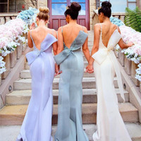 Sheath/Column big grapes - Lavender Backless Bridesmaid Dresses Long Spaghetti Straps Mermaid Prom Dress With Big Bow Lace Appliques Maid Of Honor Dresses Evening Wear