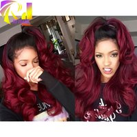 Wholesale Top Quality Brazilian Virgin Hair T1B Burgundy Ombre Body Wave A Full Lace Human Hair Wig For Black Women Lace Front Wigs Ombre