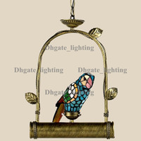 art deco accent lamp - macaw tiffany accent pendant light stained glass hanging lamp art deco novelty metal light fixture unique new year X mas gift