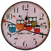 Bamboo & Wooden antique wood clocks - New European Style Vintage Creative Forest Owl Round Wood Wall Clock Quartz Bracket Kitchen Clocks Decoration Decor