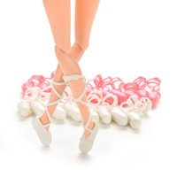 ballet types - 10Pairs Ballet Shoes Bind type Toe Shoes for Barbie Doll Mixed Colors Fashion Dolls Parts Accessories