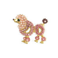 Wholesale 100pcs Women s Crystal Pink Pearl Poodle Dog Brooch Pin Made with Rhinestone and Zinc Alloy