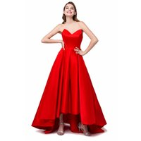 short front long back dresses - In Stock Red cheap prom dresses robe de soiree Draped Party Dresses Hi Lo Short front Long Back prom dress