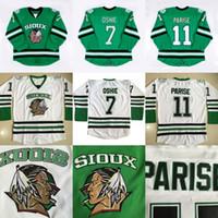 Wholesale North Dakota Fighting Sioux Hockey Jersey TJ Oshie Zach Parise blank Green University Throwback Stitched Jerseys