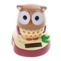 Wholesale Cute Solar Powered Rotatable Bobble Head Owl Home Desk Office Car Ornament Toy Gift