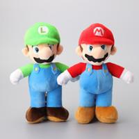 Wholesale 2 Super Mario Bros Mario amp Luigi Plush Toys Cartoon Soft Stuffed Dolls Kids Gift quot CM