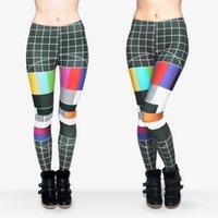 american signal - Women Leggings TV No Signal Print Skinny Stretchy Runner Yoga Pants Soft Trousers J29533