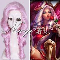 ashe wig - gt gt gt new vogue Hot Sell cm Long Pink Wavy Heartseeker Ashe Skin LOL Cosplay Full Wig Cos Wig