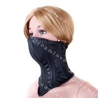 Wholesale Female Soft Boned Leather Bondage Neck Corset Collar Womens Fetish Lockable Half Face Mask Slave Role Play Costume