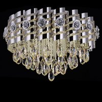 Wholesale LED round suction dome light modern simple crystal zinc alloy ceiling lights