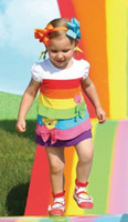 Wholesale Fashion Girls Rainbow dress summer girls short sleeved striped dress cake