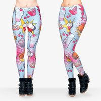 american fast food - Lady Leggings Fast Food Comix D Graphic Print Pants Skinny Stretchy Yoga Trousers J29512