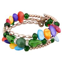 beaded chain mail - The New Package Mail Ms Relaxed Sweet Candy Color Multilayer Sell Like Hot Cakes Shells Sells Crystal Bracelet