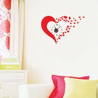 bathroom wall clocks - 25 cm Red Love Heart Wall Clock Shape Wall Stickers DIY Art Decal Removeable Wallpaper Mural Sticker