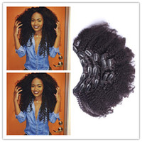 Wholesale Large Stock Peruvian Human Hair Clip In Hair Extensions Afro Kinky Curly Clip Ins g Curly Clip In Human Hair Extensions