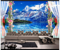 beautiful landscaping photos - 3D photo wallpaper custom d wall murals Beautiful snow mountain iceberg landscape balcony TV backdrop d living room wall decor
