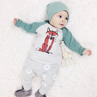 Wholesale Newborn clothing set Baby Boys Girls Fox Top Pants Hat Set Newborn Infant Cotton Romper baby boy clothes High Quality
