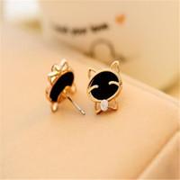 Boucles d'oreilles chat souriant Fashion Cute Diamond Stud Boucles d'oreilles DHL Charme Boucles d'oreilles de mariage décoration de Noël Livraison gratuite