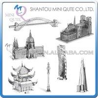 banks architectures - Piece Fun D world architecture building Metal Puzzle Notre Dame de Paris Bank Sky Tower GOLDEN GATE BRIDGE educational toy