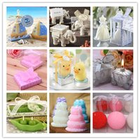 Wholesale Creative party gift Wedding Favor of Sailboat candle Elephant Wedding dress Butterfly Duck Carriage Pea Cake Rose candle
