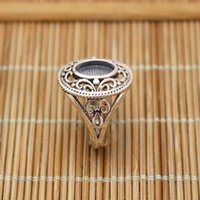 antique oval engagement rings - Vintage Art Nouveau5 x9 mm Oval Cabochon Semi Mount Silver Antique Engagement Ring Retro Wedding Fine Jewelry