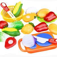Wholesale Hot Sale Set Plastic Kitchen Food Fruit Vegetable Cutting Kids Pretend Play Educational Toy Cook Cosplay Safety
