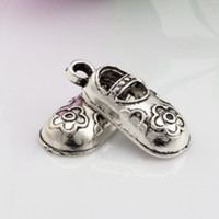 baby shoes charm - Hot Sales Antique Silver Zinc Alloy Baby Shoes Charms Pendants x9mm DIY Jewelry A