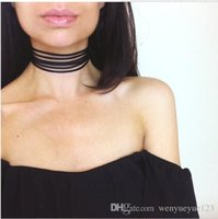 Wholesale 005 New Europe and the United States fashionable personality wild skin velvet layer necklace Multi layer collar Necklace Clavicle chain