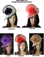 Wholesale Sinamay headband fascinator sinamay party hat with silk flower colors