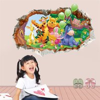 Wholesale creatively through wall cartoon winnie the pooh bear wall sticker for kids room mural art children nursery wall art home decal
